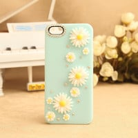 Daisy Rhinestone Hard Cover Case for iPhone