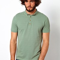 ASOS Polo In Pique Jersey With Button Down Collar at asos.com