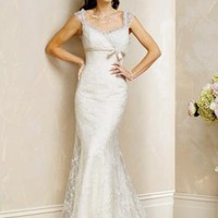Mermaid Scoop Chapel Train Satin Lace wedding dress for brides 2012 Style(WD0251) [WD0251] - $178.95 :