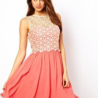 Little Mistress Lace Broderie Prom Dress at asos.com