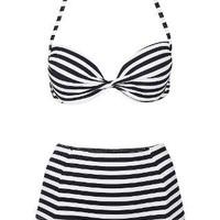 Navy Push Up Bikini Top and High Waisted Bikini Pants - Swimwear - Clothing - Topshop USA