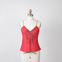 Red Deco Beaded Camisole Tank Top