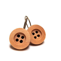 "Light Wood Earrings, Wooden Drop Buttons, Earthy Jewelry, Nickel Free Dangle Earrings, Rustic Hanging Eco Earrings - ""Pining Away My Heart"""