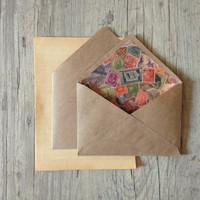 Crafted writing set - letter writing paper - brown envelope with vintage paper - beige brown rustic vintage style - europeanstreetteam