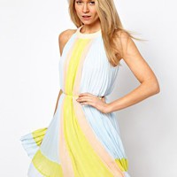 Ted Baker Pleated Dress in Icecream Colourblock at asos.com