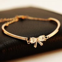 Simply Bow Rhinestone Fashion Bangle | LilyFair Jewelry