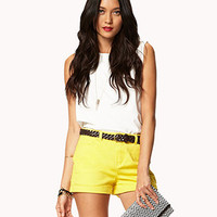 Essential Denim Shorts w/ Faux Leather Belt | FOREVER 21 - 2042244041