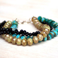 Beaded Bracelet - Multiple Strands - Black - Cashmere - Turquoise