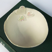 Handmade Ceramic Porcelain Heart Decorative Bowl - Wedding gift