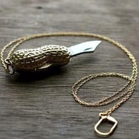 Golden Peanut Goober Folding Pocket Knife Necklace by contrary