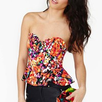 Electric Bloom Peplum Bustier