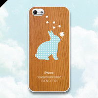 iPhone 5 case - Wood patterns: Rabbit Clover Hearts - also available in iPhone 4 and iPhone 4S size
