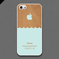 iPhone 5 case - Wave : Mint blue / wood pattern- also available in iPhone 4 and iPhone 4S size