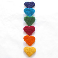 Rainbow Brooch needle felt hearts - party favor - bright colors CHOOSE ONE
