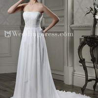 Strapless Chiffon A-line Wedding Dress with Lace