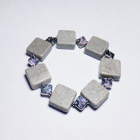 Gray Marble and Diamond Beaded Stretch Bracelet