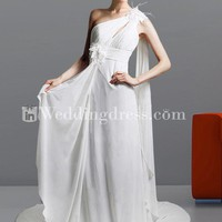 Chiffon One Shoulder Sheath Wedding Gown with Flowers