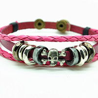 Women's leather bracelet, skull head rivet cuff bracelet, girl's brangle bracelet, adjustable bracelet  RZ0265