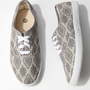 Grey Damask Print Lace-Up