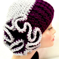 Crochet Flower Hat: Silver & Royal Purple
