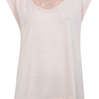 Peach Pleated Back Tee