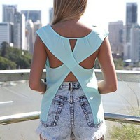 Blue Sleeveless Asymmetric Top with Open Cross Back