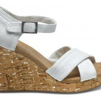 Ivory Linen Women&#x27;s Strappy Wedges | TOMS.com
