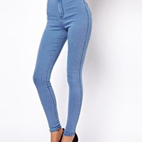 ASOS Uber High Waist Denim Tube Pants in Light Wash at asos.com