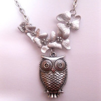 Falling Orchid Flower Necklace With Owl Pendant