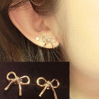 Simply Bow Rose Gold Earrings | LilyFair Jewelry