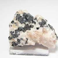 Black Franklinite Crystals in Calcite Matrix Franklin New Jersey