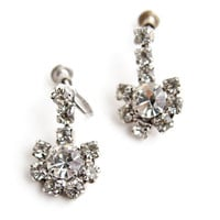 Vintage Dangly Rhinestone Clip On Earrings -  Silver Tone Faux Diamond Screw Back Costume Jewelry - Clear Crystals