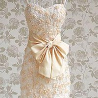 Gorgeous Flower Buds Lace Dress with bowknot detail