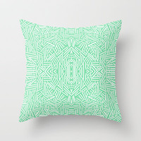 Radiate (Celadon) Throw Pillow by Jacqueline Maldonado