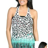 ombre cheetah print racerback tank top with fringe bottom - 1000049298 - debshops.com