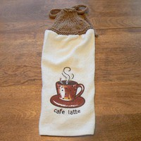 Cafe Latte Hanging Dish Towel With Brown Hand Knit Topper and Ties