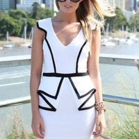 White Cutout Back Peplum Dress with White Trim Detail