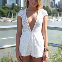 White Lace Playsuit with Plunging V-Front and Cap Sleeves