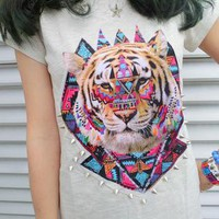 Spiked Tiger Graphic Print T-shirt