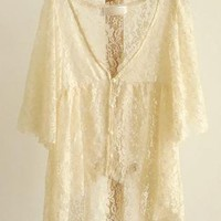 High-Low Lace Floral Cardigan Top