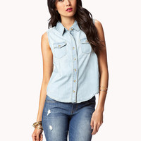 Life In Progress™ Sleeveless Denim Shirt