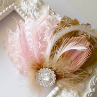 Bridal Hairpiece, Feather Fascinator, Bridal Hairpiece, Blush, Pink, Gold, Camel, Brown, Vintage Wedding. Bridesmaid Hair Accessories