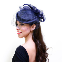Vintage Blue Fascinator Hat - 1980s Bird Cage Veil Netting Fashion Accessory - Oversized Bow Accent