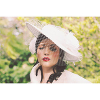 Vintage Inspired Large Brim Silk Period Bridal Hat