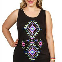 plus size tunic tank with neon aztec print screen - 1000049882 - debshops.com