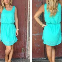 Teal Sleeveless Chevron Textured Dress with Round Neckline