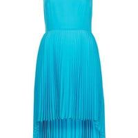 Pleat Dip Hem Dress - Dresses  - Clothing