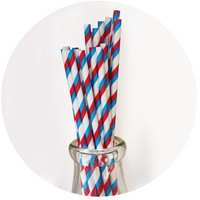 Red, White and Blue Striped Paper Straws Set of 23 - MODERN LOLA