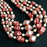 Vintage Beaded Necklace - Layered Pink & White Gold Tone Costume Jewelry Beads / Four Strands