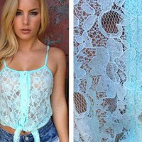 Baby Blue Sheer Lace Tank with Button Up Tie Front
